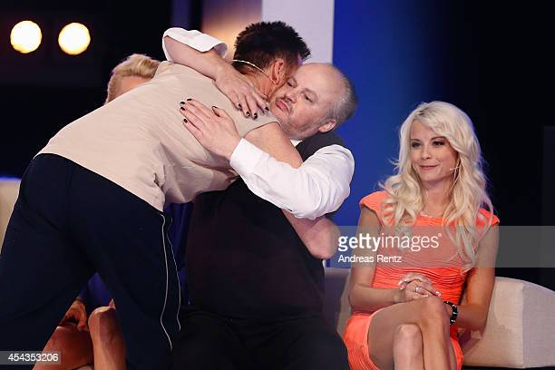 Michael Wendler Hubert Kah and Mia Julia attend the Promi Big Brother finals at Coloneum on August 29 2014 in Cologne Germany