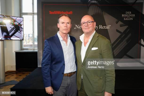 Michael Werner and Andre Maeder pose at the Textilwirtschaft Der Berliner Mode Salon 'New Luxury Retail' during 'Der Berliner Mode Salon'...