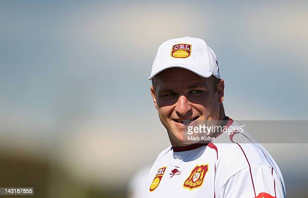 Michael Weyman looks on during the Country Origin training session at Glen Willow Sports Complex on April 21 2012 in Mudgee Australia on April 21...