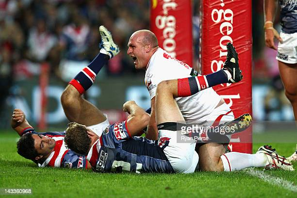 Michael Weyman of the Dragons celebrates after scoring a try during the round eight NRL match between the St George Illawarra Dragons and the Sydney...
