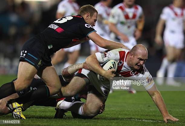 Michael Weyman of the Dragons is tackled during the round 10 NRL match between the Penrith Panthers and the St George Illawarra Dragons at Centrebet...