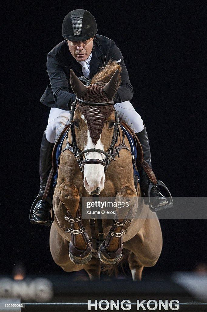 Michael Whitaker of Great Britain rides Viking at the Longines Grand Prix during the Longines Hong Kong Masters International Show Jumping at Asia World Expo on March 2, 2013 in Hong Kong, Hong Kong.
