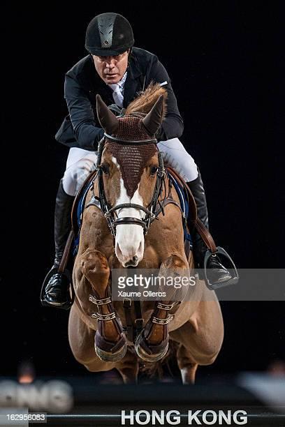 Michael Whitaker of Great Britain rides Viking at the Longines Grand Prix during the Longines Hong Kong Masters International Show Jumping at Asia...