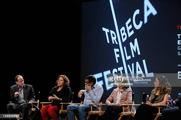 Michael White Lydia Dean Pilcher Namir Abdel Messeh Cindy Kirven and Tania Zarak attend Tribeca Talks Industry The Business Of Entertainment during...