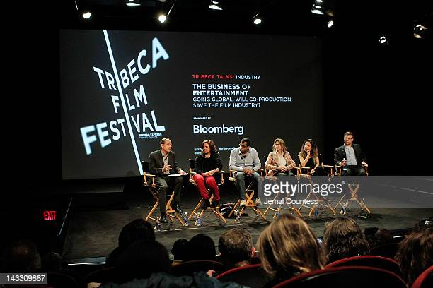 Michael White Lydia Dean Pilcher Namir Abdel Messeh Cindy Kirven Tania Zarak and Milan Popelka attend Tribeca Talks Industry The Business Of...