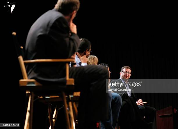 Michael White Lydia Dean Pilcher Namir Abdel Messeh Cindy Kirven Tania Zarak and Milan Popelka speaks at the Tribeca Talks Industry The Business Of...