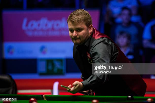 Michael White of Wales plays a shot during his quarterfinal round match against Mark Selby of England on day five of 2018 Ladbrokes World Grand Prix...