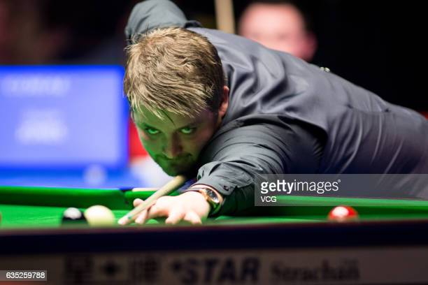 Michael White of Wales plays a shot in his first round match against Duane Jones of Wales on day two of the 2017 Coral Welsh Open at the Motorpoint...
