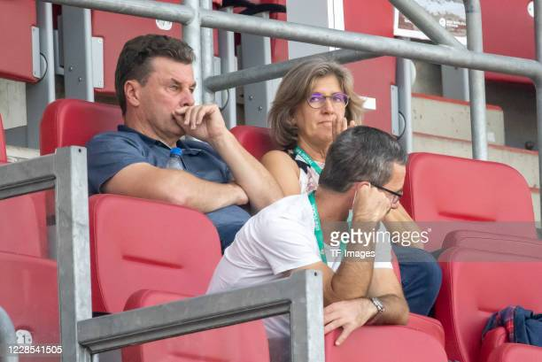 Michael Wiesinger and Dieter Hecking chief of sport of 1FC Nuernberg during the DFB Cup first round match between 1 FC Nuernberg and RB Leipzig at...