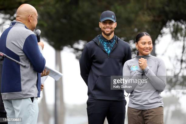 Michael Wilbon, Ayesha Curry, and Stephen Curry speak during The Workday Charity Classic, hosted by Stephen and Ayesha Curry's Eat. Learn. Play. And...