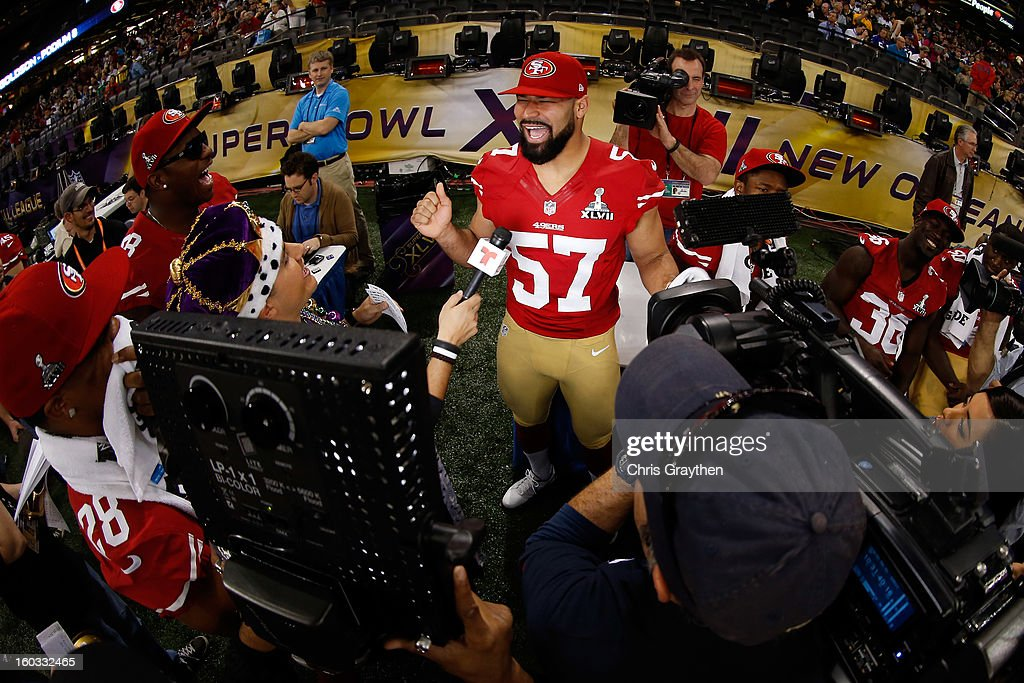 Michael Wilhoite #57 of the San Francisco 49ers yells as he answers questions from the media during Super Bowl XLVII Media Day ahead of Super Bowl XLVII at the Mercedes-Benz Superdome on January 29, 2013 in New Orleans, Louisiana. The San Francisco 49ers will take on the Baltimore Ravens on February 3, 2013 at the Mercedes-Benz Superdome.