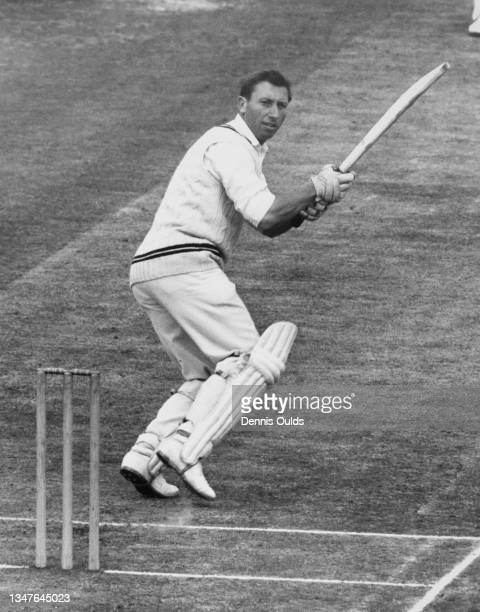 Michael Willett , right handed batsman for Surrey County Cricket Club plays a late cut against the bowling of Peter Eyre of Derbyshire County Cricket...