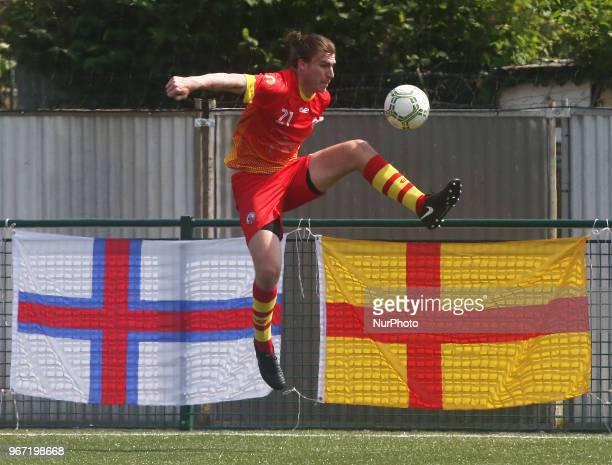 Michael Williams of Ellan Vannin during Conifa Paddy Power World Football Cup 2018 Group A match between Barawa against Ellan Vannin at Coles Park...