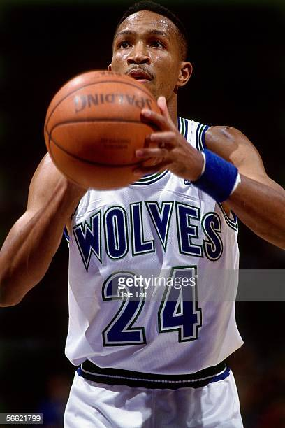 Michael Williams of the Minnesota Timberwolves prepares to shoot a free throw during a game against the Detroit Pistons at Target Center on December...