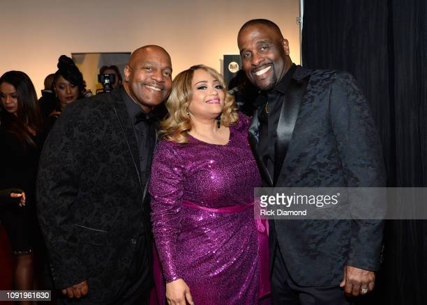Michael Winans Melanie FewHarrison and Carvin Winans attend the 2019 Super Bowl Gospel Celebration at Atlanta Symphony Hall on January 31 2019 in...