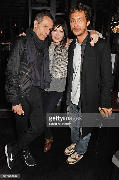 Michael Wincott Annabelle Neilson and Dan Macmillan attend Fran Cutler's birthday dinner at Bo Lang on May 1 2014 in London England