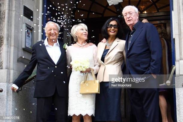 Michael Winner Geraldine LyntonEdwards Shakira Caine and Michael Caine pose after Michael Winner And Geraldine LyntonEdwards got married at Chelsea...