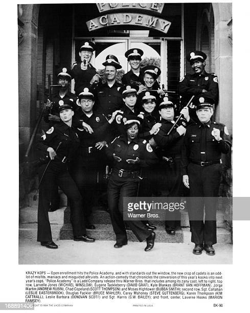 Michael Winslow, Leslie Easterbrook, Steve Guttenberg, Kim Cattrall, Bubba Smith, GW Bailey and the rest of the cast on set of the film 'Police...