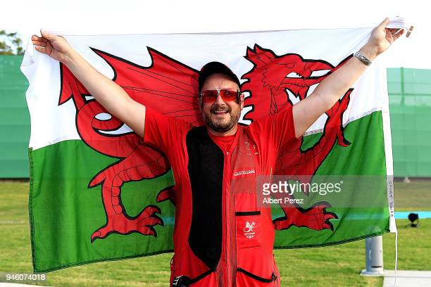 Michael Wixey of Wales celebrates winning gold in the Men's Trap final during Shooting on day 10 of the Gold Coast 2018 Commonwealth Games at Belmont...