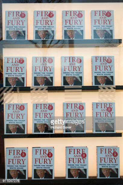Michael Wolffe's bestselling book about Donald Trump Fire And Fury is featured in the window of Foyles bookshop on 17th January 2018 on the Southbank...