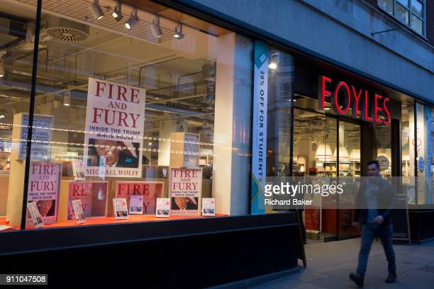 Michael Wolffe's book about Donald Trump Fire And Fury is featured as a bestseller in the window of Foyles bookshop on 15th January 2018 on Charing...