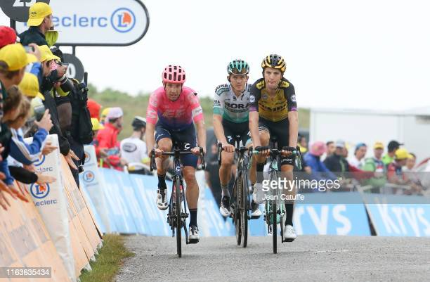 Michael Woods of Canada and EF Education First, Gregor Muhlberger of Austria and Bora-Hansgrohe, George Bennett of New Zealand and Team Jumbo-Visma...