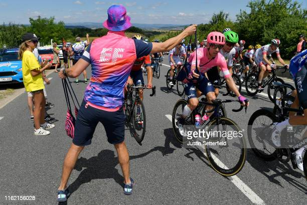 Michael Woods of Canada and Team EF Education First / Edvald Boasson Hagen of Norway and Team Dimension Data / Soigneur / Feed Zone / during the...