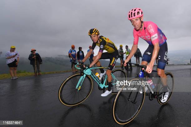 Michael Woods of Canada and Team EF Education First / George Bennett of New Zealand and Team Jumbo-Visma / Rain / Fans / Public / during the 106th...