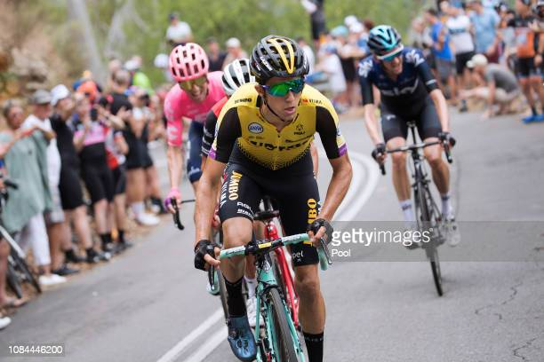 Michael Woods of Canada and Team EF Education First Pro Cycling / Richie Porte of Australia and Team Trek-Segafredo / George Bennett of New Zealand...