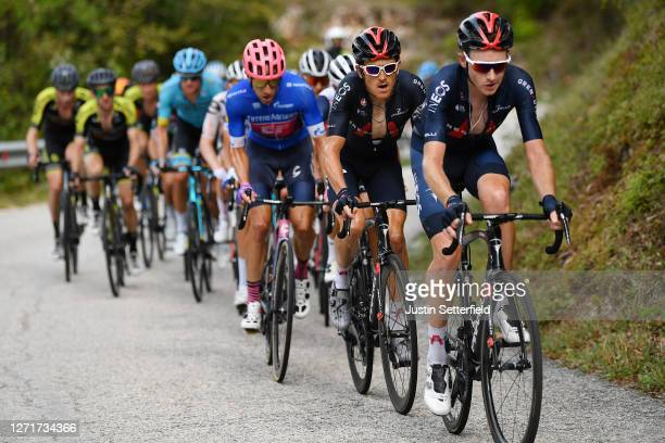 Michael Woods of Canada and Team EF Pro Cycling Blue Leader Jersey / Geraint Thomas of The United Kingdom and Team INEOS Grenadiers / Tao Geoghegan...