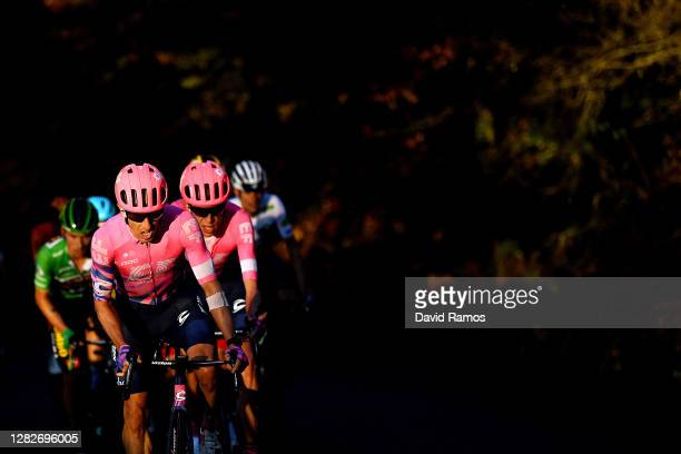 Michael Woods of Canada and Team EF Pro Cycling / Hugh Carthy of The United Kingdom and Team EF Pro Cycling / Primoz Roglic of Slovenia and Team...