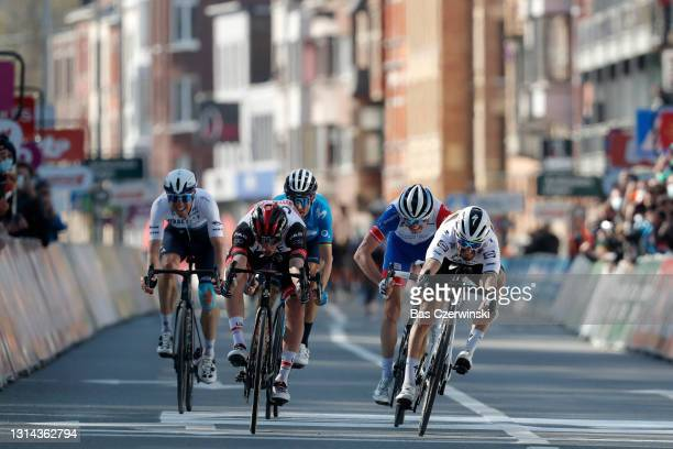 Michael Woods of Canada and Team Israel Start-Up Nation, Tadej Pogacar of Slovenia and UAE Team Emirates, Alejandro Valverde Belmonte of Spain and...