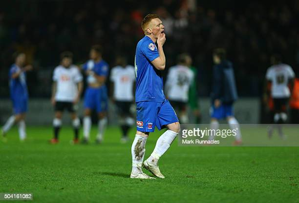 Michael Woods of Hartlepool United walks from the pitch after his side lost to Derby County 2-1 during The Emirates FA Cup third round match between...