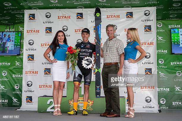 Michael Woods of the Optum Pro Cycling team on the podium after winning stage 5 of the Tour of Utah on August 7 2015 in Salt Lake City Utah