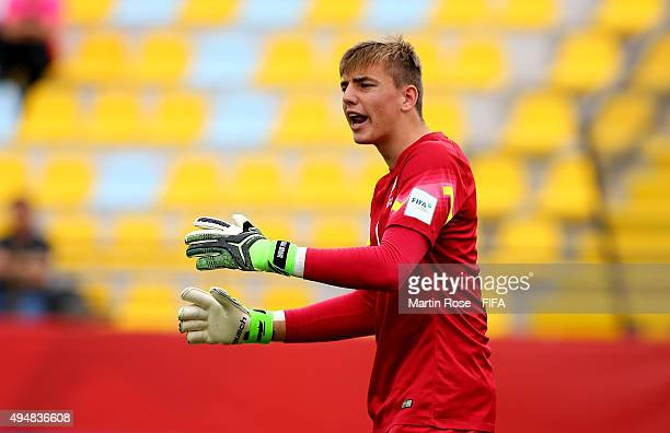 Michael Woud goalkeeper of New Zealand makes gestures during the FIFA U17 Men's World Cup 2015 round of 16 match between Brazil and New Zealand at...