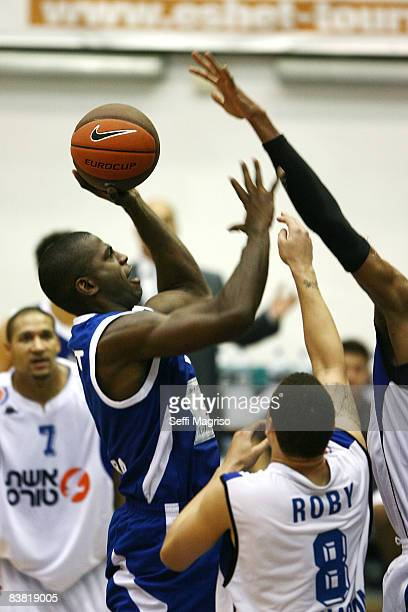 Michael Wright #7 of Turk Telekom in action during the Eurocup Basketball Game 1 match between Bnei Eshet Tours Hasharon and Turk Telecom at Metro...