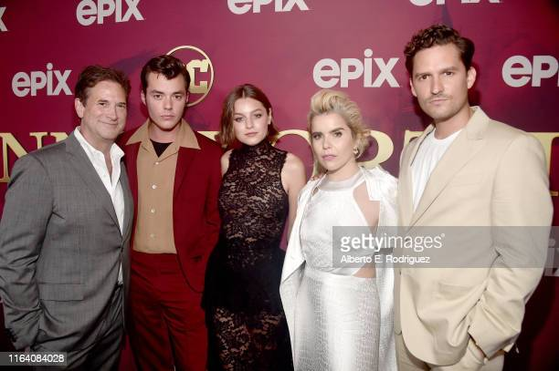 Michael Wright Jack Bannon Emma Corrin Paloma Faith and Ben Aldridge attend the premiere of Epix's Pennyworth at Harmony Gold on July 24 2019 in Los...
