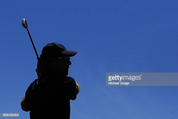 Michael Wright of Australia hits a tee shot on the 3rd hole during day four of the Australian Masters at The Metropolitan Golf Course on November 23...