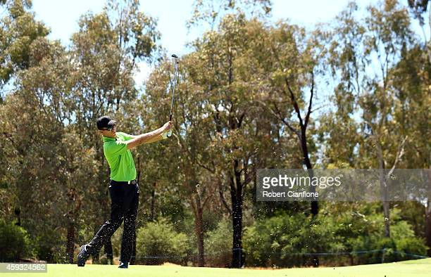 Michael Wright of Australia plays a shot during day two of the Australian Masters at The Metropolitan Golf Course on November 21, 2014 in Melbourne,...