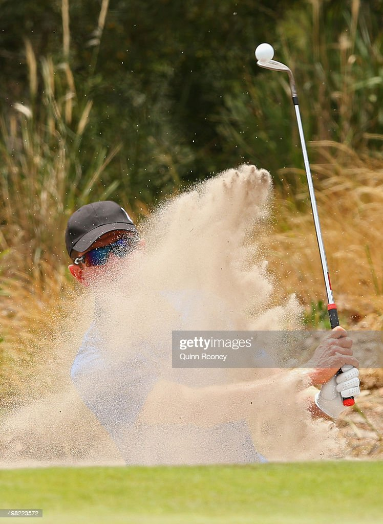 Michael Wright of Australia plays out of the bunker during the final round of the 2015 Australian Masters at Huntingdale Golf Club on November 22, 2015 in Melbourne, Australia.