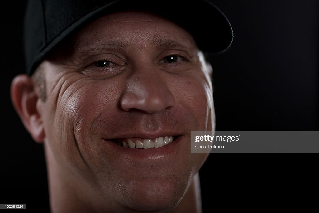 Michael Wuertz #48 of the Miami Marlins poses for a photograph at spring training media photo day at Roger Dean Stadium on February 22, 2013 in Jupiter, Florida.