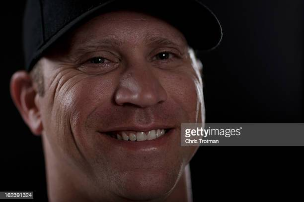 Michael Wuertz of the Miami Marlins poses for a photograph at spring training media photo day at Roger Dean Stadium on February 22 2013 in Jupiter...