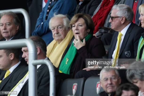 Michael WynnJones and Delia Smith during the Premier League match between AFC Bournemouth and Norwich City at Vitality Stadium on October 19 2019 in...