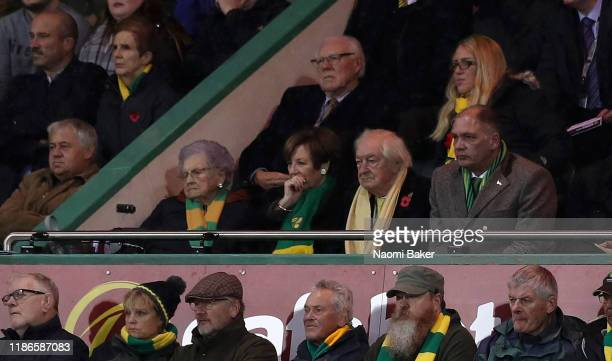 Michael WynnJones and Delia Smith look on during the Premier League match between Norwich City and Watford FC at Carrow Road on November 08 2019 in...
