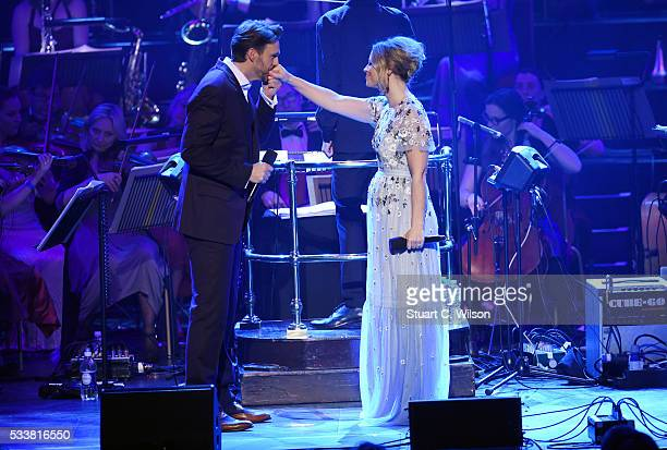 Michael Xavier and Kimberley Walsh perform at Magic Radio's Magic of the Musicals at Royal Albert Hall on May 23 2016 in London England