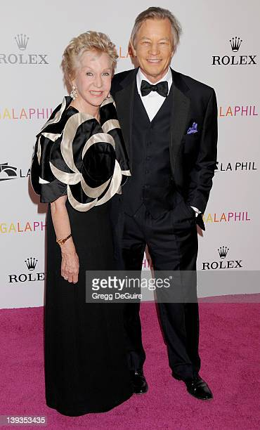 Michael York and wife Patricia McCallum arrive at the Los Angeles Philharmonic Inaugural Gala on October 8 2009 in Los Angeles California