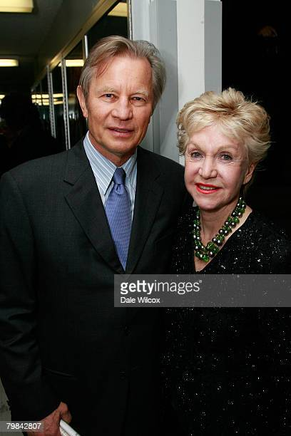 Michael York and wife Patricia McCallum backstage at the Los Angeles Opera's Opening Night Performance of Otello on February 16 2008 in Los Angeles...