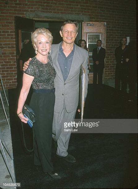 Michael York and wife Patricia McCallum during Giorgio Armani Hosts Benefit Auction of Clapton's Collection of Guitars at Quixote Studios in...