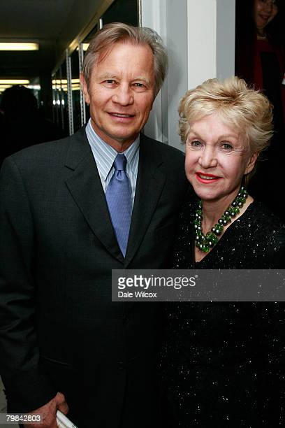Michael York and wife Patricia McCallum pose backstage at the Los Angeles Opera's Opening Night Performance of Otello on February 16 2008 in Los...