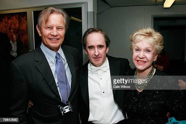 Michael York Los Angeles Opera Music Director James Conlon and Patricia McCallum pose backstage at the Los Angeles Opera's Opening Night Performance...